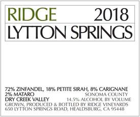 Ridge Vineyards Lytton Springs 2018