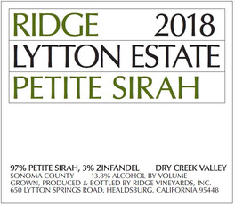 Ridge Vineyards Lytton Estate Petite Sirah 2018