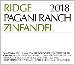 Ridge Vineyards Pagani Ranch Zinfandel 2018