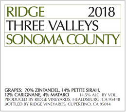 Ridge Vineyards Three Valleys 2018