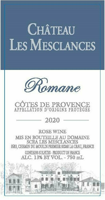 Chateau Les Mesclances Romane 2020 Côtes de Provence Rosé