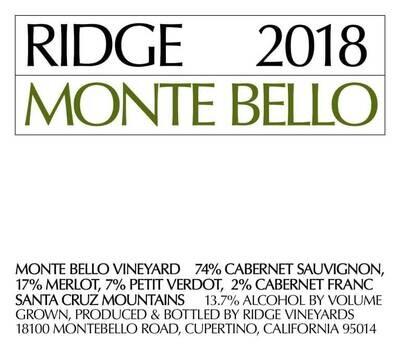Ridge Vineyards 2018 Monte Bello