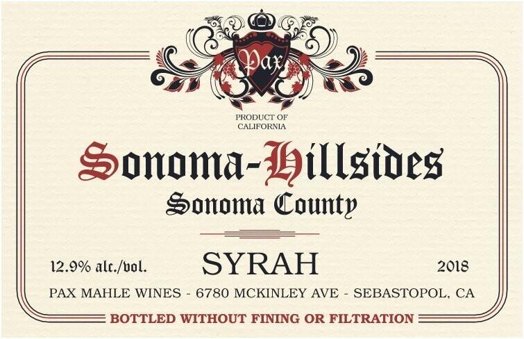 Pax 2019 Somona Hillsides Vineyard Syrah