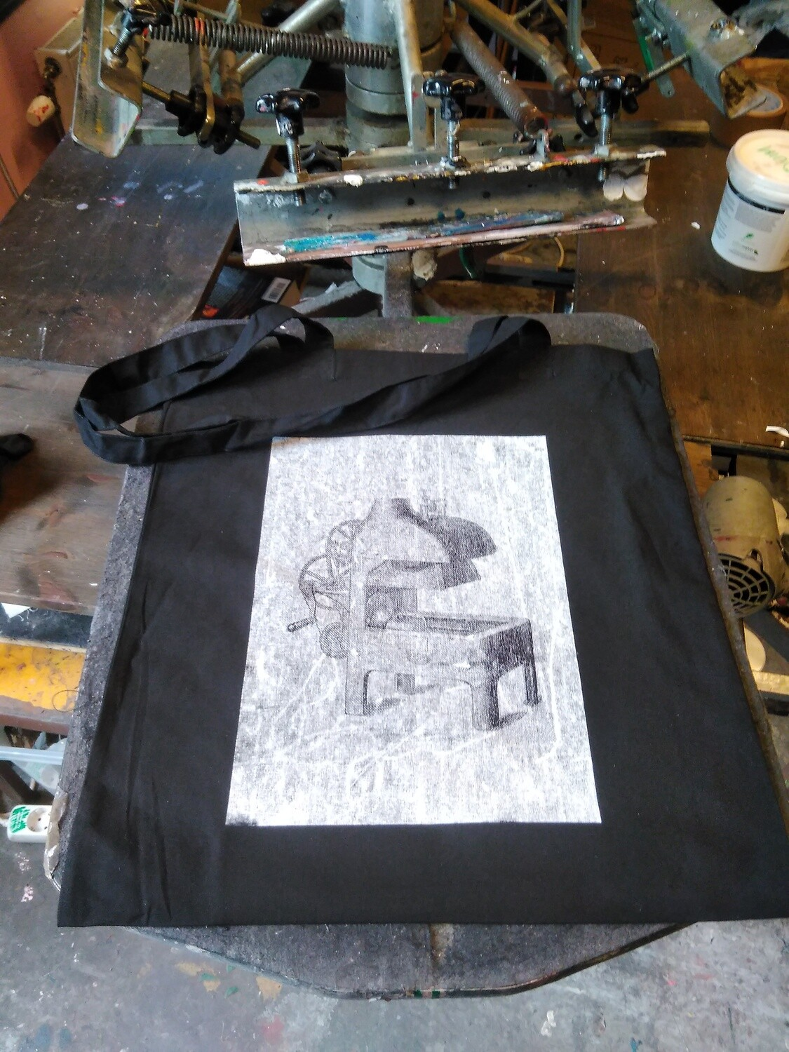 Alldays & Onions Screenprinted Tote Bag, Black