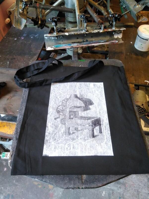 Alldays & Onions Screenprinted Tote Bag, Black