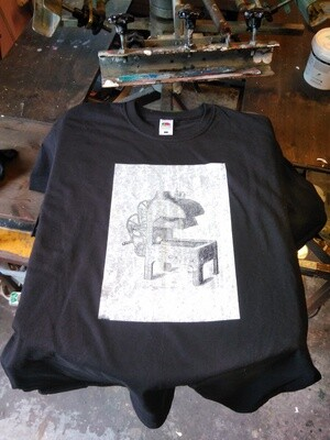 Alldays & Onions Screenprinted T-Shirt, Black