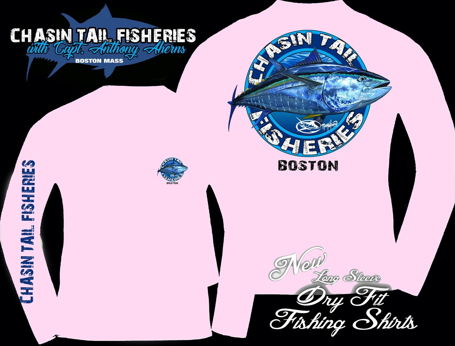 Chasin Tail Dry Fit Long Sleeve Fishing Shirt Pink