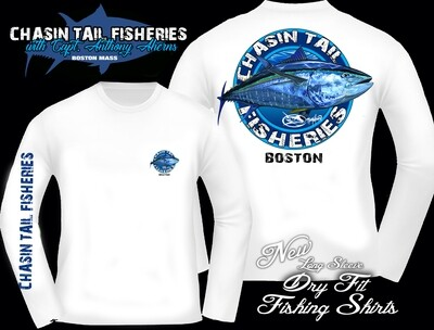 Chasin Tail Dry Fit Long Sleeve Fishing Shirt White