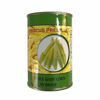 Hibiscus Premium Whole Baby Corn In Brine Can