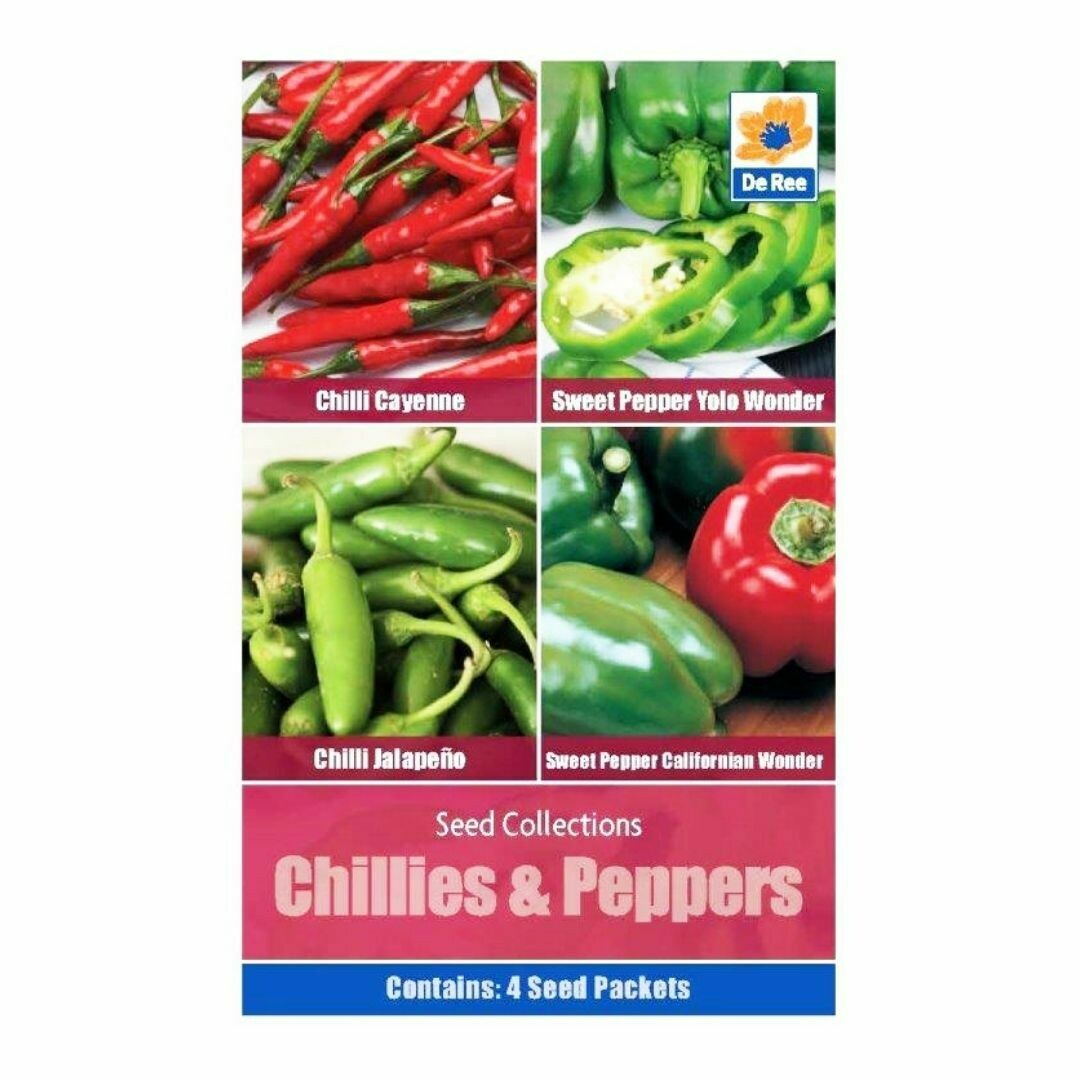 Chillies & Peppers Seed Collection 4 Varieties Muti Pack