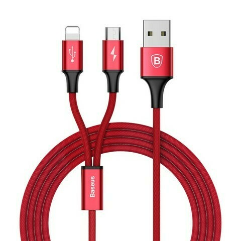 Baseus Rapid Series 2-in-1 Cable Micro+Lightning 3A 1.2M Red