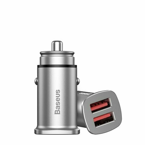Baseus Square metal A+A 30W Dual QC3.0 Quick Car Charger(QC 3.0, SCP, AFC) Silver