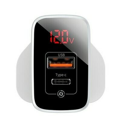 Baseus Mirror Lake PPS Digital Display quick Charger A+C UK White