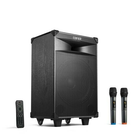 """Edifier PW312 - 12"""" Bluetooth 5.0 Trolley Speaker with Guitar Support   AUX   Dual Wireless Mic   SD Card   9000mAh"""