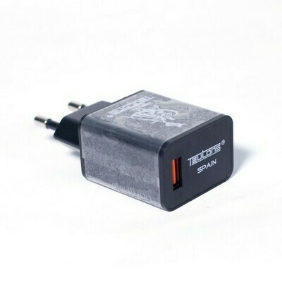 Teutons Wall Adapter with Type C DATA Cable Quick Charge 3.0 Black