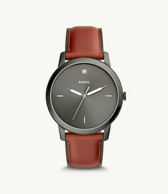 The Minimalist Carbon Series Three-Hand Smokey Amber Leather Watch FS5479