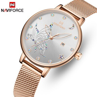 NAVIFORCE NF5011 Stainless Steel Analog Watch For Women - Grey/RoseGold