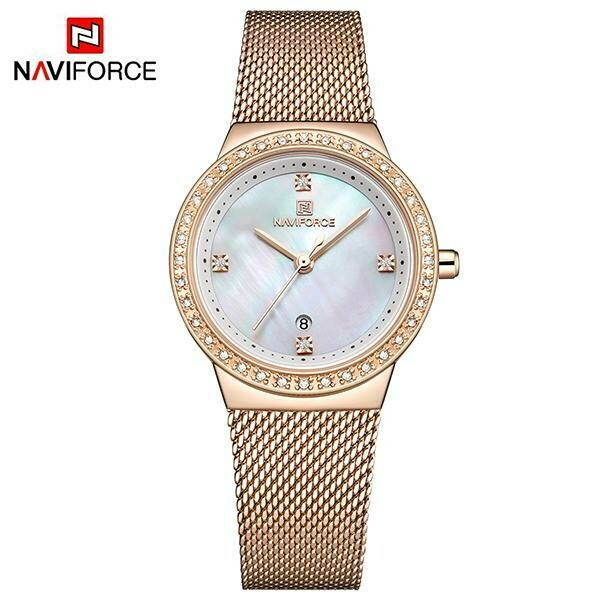 NAVIFORCE NF5005 Stainless Steel Watch for Women-Rosegold
