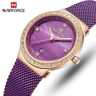 NAVIFORCE NF5005 Stainless Steel Watch for Women-RoseGold & Purple