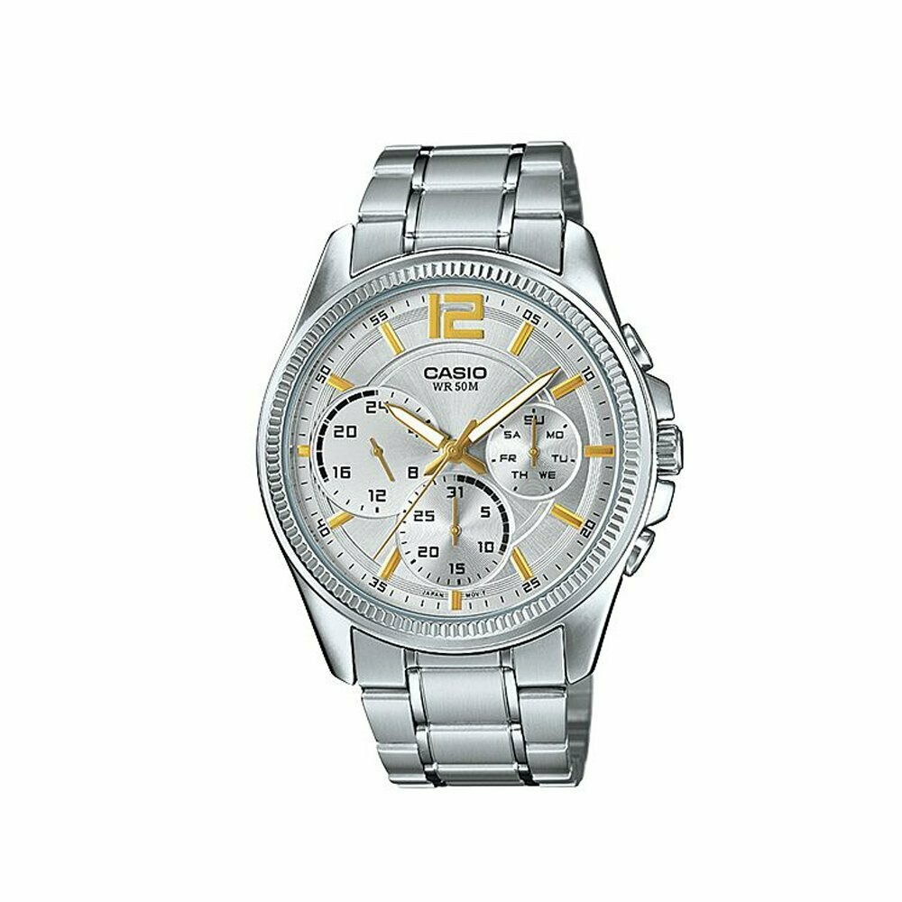Casio Enticer MTP-E305D-7AVDF Analog Wrist Watch For Men - Silver