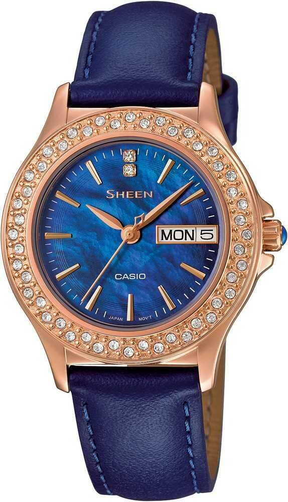 Casio Sheen SHE-4800GL-2AUDR Blue Genuine Leather Watch For Women
