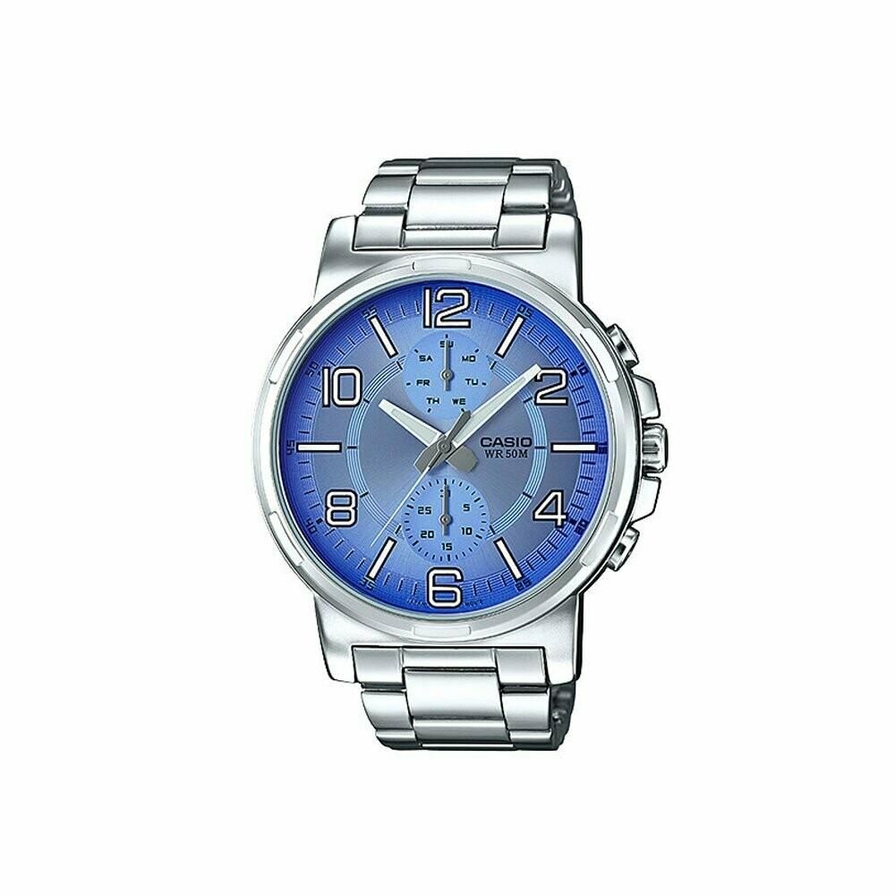 Casio Enticer Men's MTP-E313D-2B2VDF Silver Metal Watch For Men