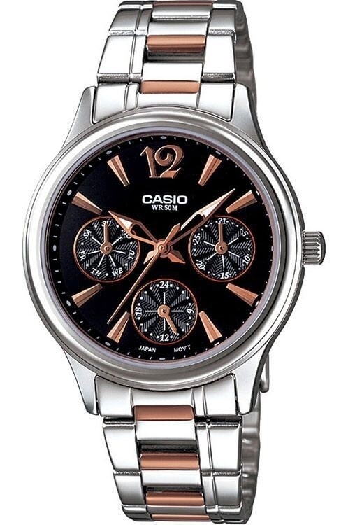 Casio Enticer LTP-2085RG-1AVDF Wrist Watch For Women - Silver and Rose