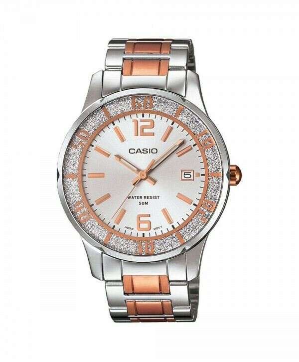 Casio Enticer LTP-1359RG-7AVDF Wrist Watch For Women - Silver and Rose