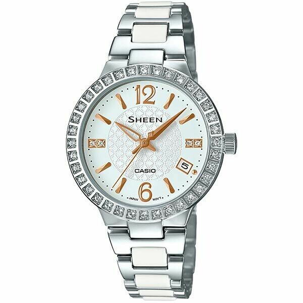 Casio Sheen SHE-4049D-7AUDR Silver Stainless Steel Watch for Women