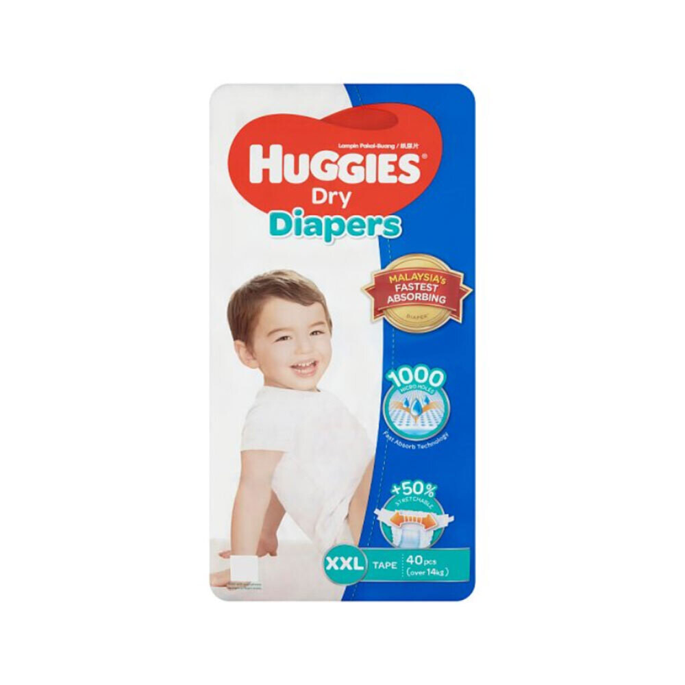 Huggies Dry Baby Diaper Belt XXL Over 14kg+(40Pcs)