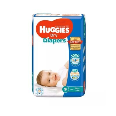 Huggies Dry Baby Diaper Belt S 4-8 kg (60Pcs)