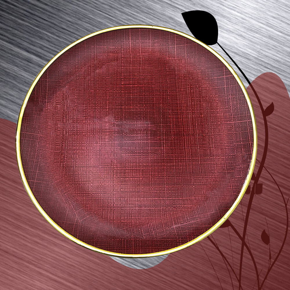 18 Inch Large Ceramic Red Plate With Gold Rim