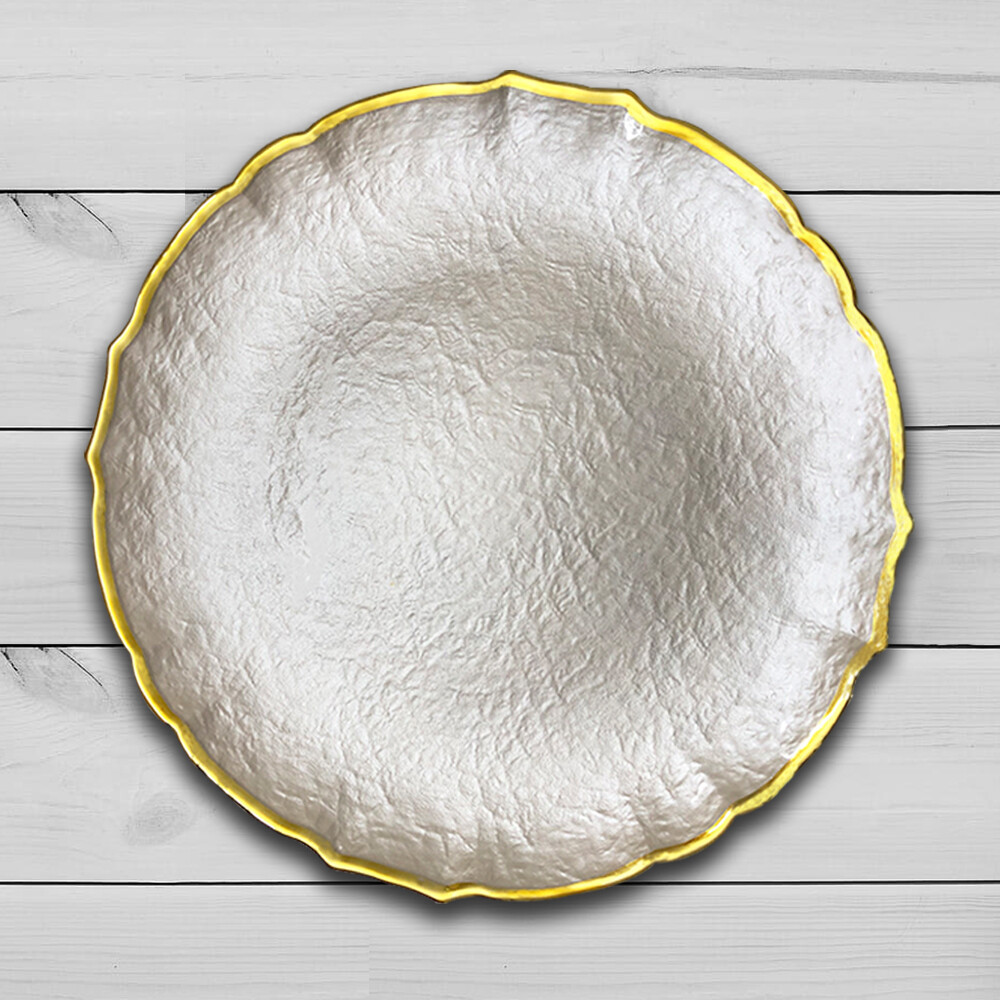 18 Inch Large Ceramic White Marble Plate With Gold Rim