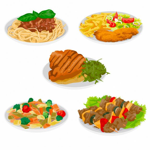 Caserecce broccoli e salsiccia , straccetti di pollo all'aceto balsamico e mandorle tostate , pane ed acqua