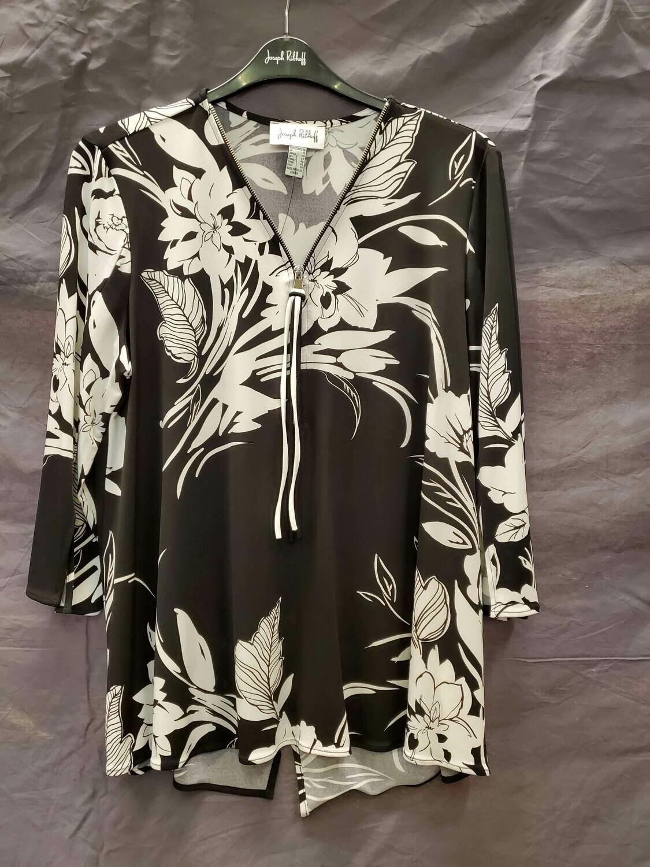 JR Blk/Wht Zipper Floral