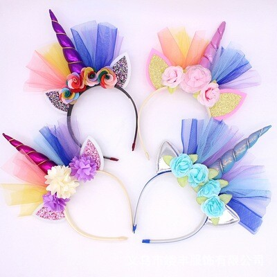 Unicorn Head Band - 4 Pack