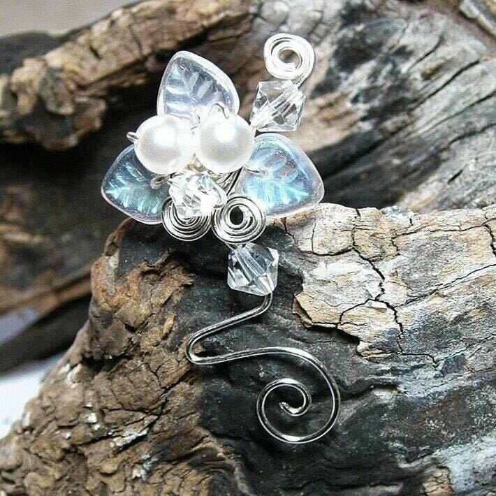 Bridal Ear Cuff Silver or Gold White Woodland