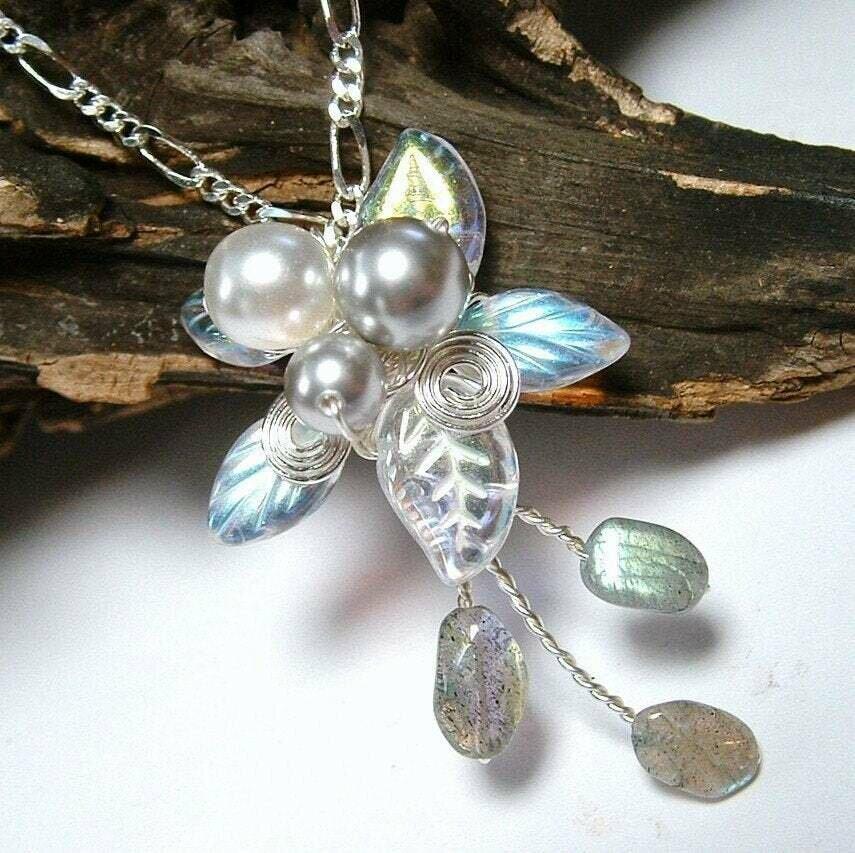 Labradorite Rainflower Elven Gemstone Necklace