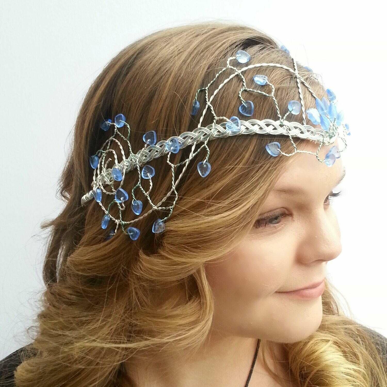 Sapphire and Ice Blue Elven Wedding Headdress Tiara