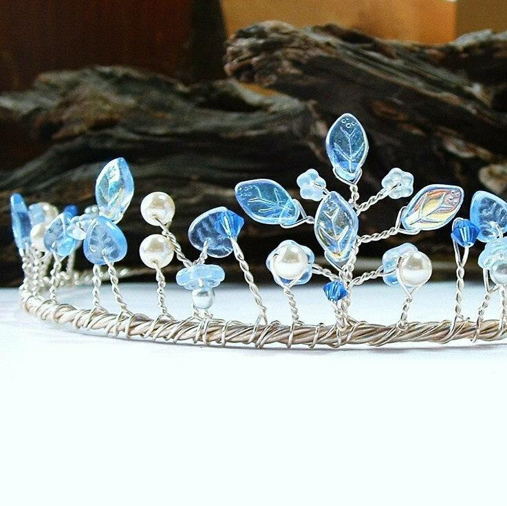 Sapphire and Ice Wedding Tiara  Headdress