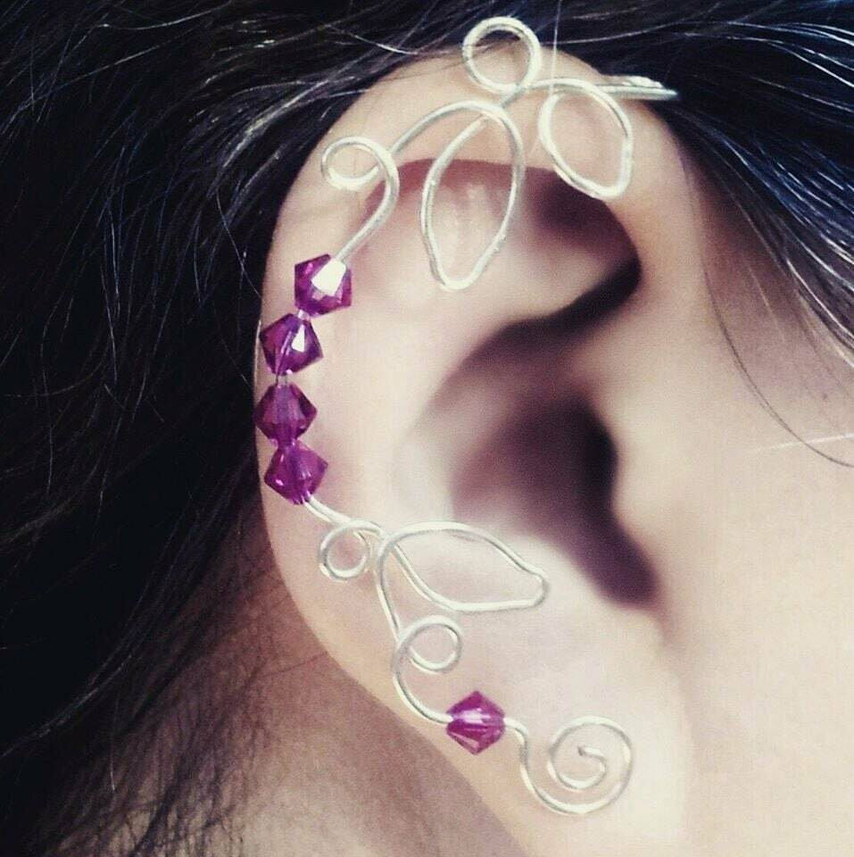 Crystal Vine Ear Cuff Ear Climber in Custom Colors