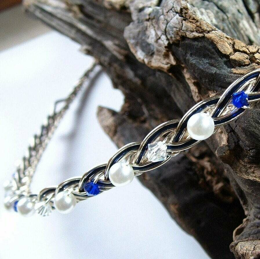 Saltire Blue Scottish Celtic Wedding Headband Circlet