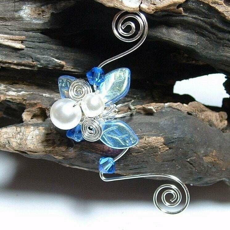 Sapphire and Ice Fairy Wedding Ear Cuff