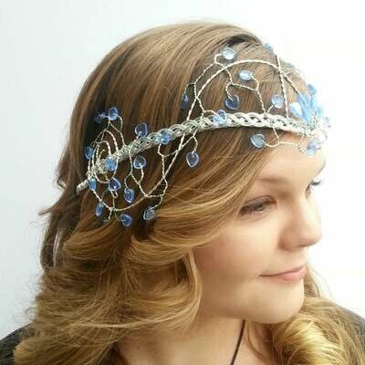 Sapphire and Ice Blue Elven Wedding Headdress Tiara