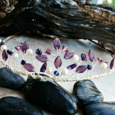 Amethyst Bridal Tiara Purple Leaves Crystals Pearls