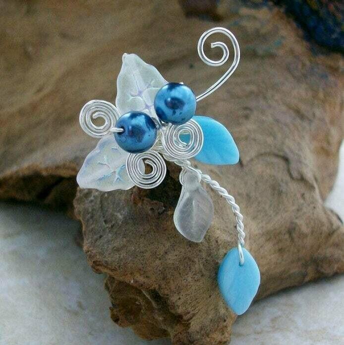 Blue Beach Wedding Ear Cuff Ear Climber No Piercing