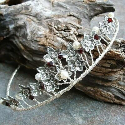 Celtic Ivy Pearl and Garnet Wedding Tiara Crown Circlet
