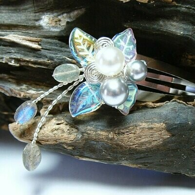 Labradorite Rainflower Hair Clip Barrette
