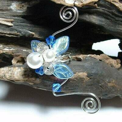 Sapphire and Ice Fairy Wedding Ear Cuff
