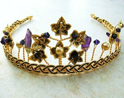 Celtic Gold Tiara Amethyst with Ivy Leaf